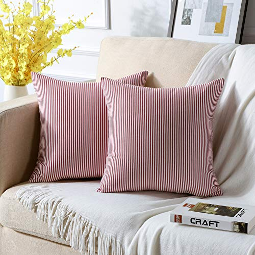 JOTOM Juego de 2 fundas de cojín decorativas sin funda de cojín decorativa para el sofá, con cremallera oculta, 45 x 45 cm, diseño de rayas rojas y blancas