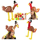 2 Pack Turkey Gobbler Hats for Thanksgiving Night Event, Dress-up Party, Thanksgiving Decoration, Role Play, Carnival, Cosplay, Costume Accessories Brown