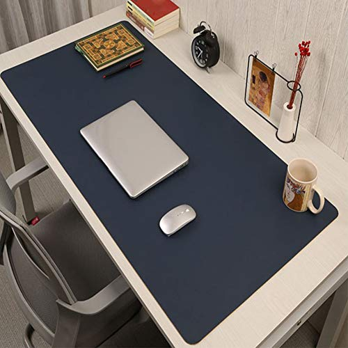 Have Leather Desk Mat Multifunctional Premium Extended Mouse Pad for Home Office Accessories Non Slip Leather Desk Pad Protector Desk Blotter Pad-Dark Blue 80x40cm(31x16inch)