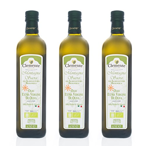 Olio Clemente - 3 Bottiglie di Olio Extra Vergine Biologico, 100% Italiano, Montagna Sacra, 750ml