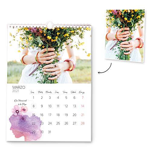 Fotoprix Calendario 2021 pared Personalizado con tus fotos | Varios Diseños y Tamaños Disponibles | Calendario anual con diseño de acuarela | Tamaño: A4 (21 x 29,7 cms)