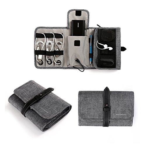 BAGSMART Compact Travel Cable Organizer Portable Electronics Accessories Bag for Various USB, Earphone, Cables, Power Bank, Grey