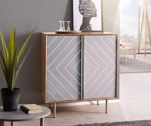 DELIFE Kommode Metropolitan Akazie Natur 88 cm 2 Türen filigran Beton Edelstahl Sideboard
