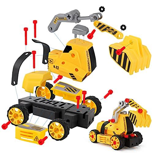 kramow 7 in 1 Montage Spielzeug Auto LKW,Kinder Spielzeug ab 3,Spielzeug 4 Jahre Junge,Lastwagen Autos,65 TLG,Kleinkind Baustelle Kinder Spielzeug ab 5 ab 6