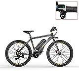 LANKELEISI RS600 700C Bicicleta eléctrica, batería de 36V 20Ah, Freno de Disco, kilometraje de Resistencia de hasta 70 km, 20-35 km/h, Bicicleta de Carretera (Grey-LED, Plus 1 batería de Repuesto)