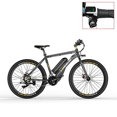 LANKELEISI Bicicleta eléctrica RS600 700C, batería de 36V 20Ah, Freno de Disco, Marco de aleación de Aluminio, Resistencia de hasta...