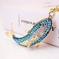 Xi-Yu クリエイティブ海洋動物金属ペンダントダイヤモンド車のキーリングキーチェーン、小さな贈り物2PCS (Color : Light blue)