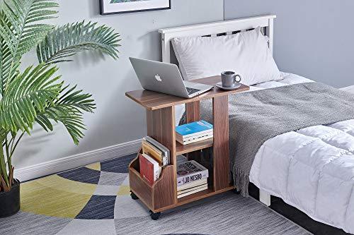 KMAYAサイドテーブル可移動デスクキャスター付きミニ机おしゃれベッドサイドテーブルコの字型デザイン実用的二段収納棚付きテーブル品質保証(ダークブラウン)