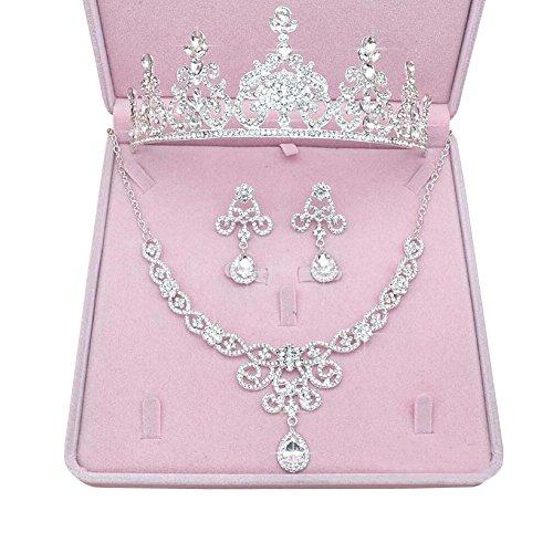 Mujer Plata Conjunto nupcial de la joyería de la boda Conjunto de pendientes de collar de corona - 18