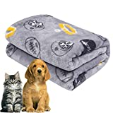 softan Cat Blanket, Fluffy Dog Bed Blanket, Super Soft Bed Cover for Puppy, Washable and Warm Animal Blanket for Small Medium Dog, Cute Print Design for Pet Gift Ideas, 31'×39', Grey