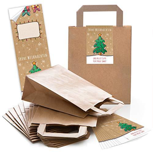 25 braune weihnachtliche Papiertüten Geschenktasche Henkel mit Boden 18 x 8 x 22 cm + 25 Aufkleber FROHE WEIHNACHTEN ALLES GUTE FÜRS NEUE JAHR grün bunt beige Geschenk Verpackung Be-Füllen