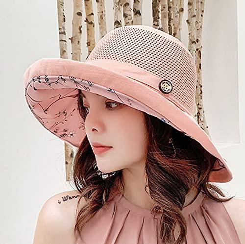LONGSAND Sombrero de Sombrero UV Protección UV Malla Sol Sombreros Mujeres Verano Playa Cap Ancho Sombreros Sombreros Plegables con Correa de Barbilla para excursiones al Aire Libre,Rosado,56~58cm