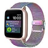 Funbiz Armband Kompatibel mit Watch, Atmungsaktives Edelstahlgewebe Armband Smartwatch Metall...
