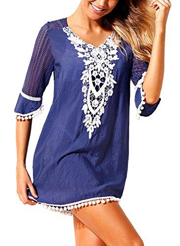 Aleumdr Copricostume da Bagno Donna in Pizzo Bikini Cover Up con Pompon Beach Dress, Blu