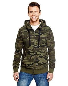 Burnside Camo Full-Zip Hooded Sweatshirt.B8615 - Large - Green Camo