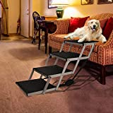 Snagle Paw Portable Dog Car Step Stairs, Accordion Aluminum Frame Folding Pet Ramp for Indoor Outdoor Use, Lightweight Auto Large Pet Ladder for Cars, Trucks,SUVs Cargo,and High Bed,4 Steps