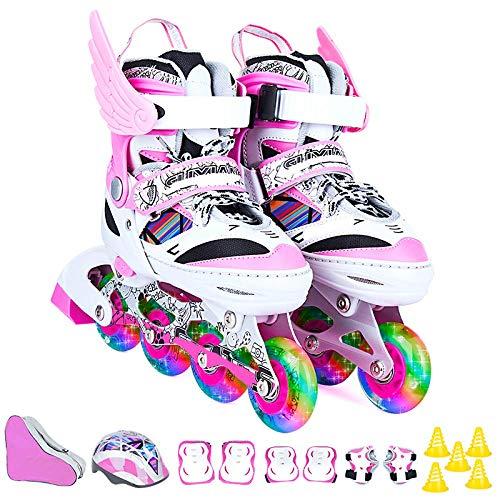 AYLS Inline Skates Kinder Herren und Damen Einsteiger Rollschuhe Mädchen Jungen Einstellbare Blink Erwachsene Rollerblades Set Schlittschuhe,Pink,S