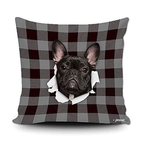 Funda de almohada a cuadros de búfalo negro y gris con My Love Dog Bulldog francés para decoración del hogar, funda de cojín divertida para sofá, dormitorio, 50,8 x 50,8 cm, impresión de doble cara