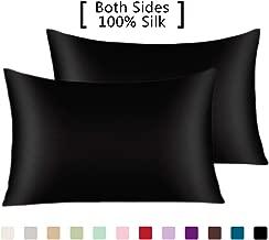 YANIBEST Pillow Cases 2 Pack 100% Mulberry Silk Pillowcase for Hair and Skin with Hidden Zipper (Queen Pillowcase Set of 2, Black)