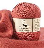 TEHETE Ovillo de lana, 100% Hilados de lana merino Hilo 50g para manta, suéter calcetín, bufanda, diy, ganchillo y tejido(Rosa)