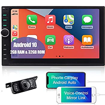 Android Auto Double Din Car Stereo Touchscreen Carplay Car Radio GPS Navigation Bluetooth with Backup Camera in Dash 2GB 32GB Head Unit 7 inch WiFi Mirrorlink Car Entertainment Multimedia Play USB SD