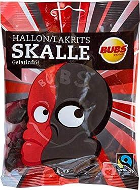 2 bolsas de 3.17oz de bubs, gódicos, Hallon, Lakrits Raspberry Licourice, original – sueco, salmiak, salty licorice, salmiakki, calavera de sal, libre de gelatina – encías de vino