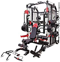 MiM USA Hercules 1001 Commercial Smith Machine - One Gym Workout Training Equipment - Functional Trainer, Power Cage, Leg Press, Dip Chin Station, Jammer Arms, Adjustable Weight Bench W/Leg Extension