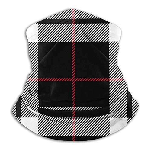 Wteqofy Bandana Neck Gaiter Red Black and White Tartan Plaid Cycling Balaclava Face Scarf Mask For Man Women