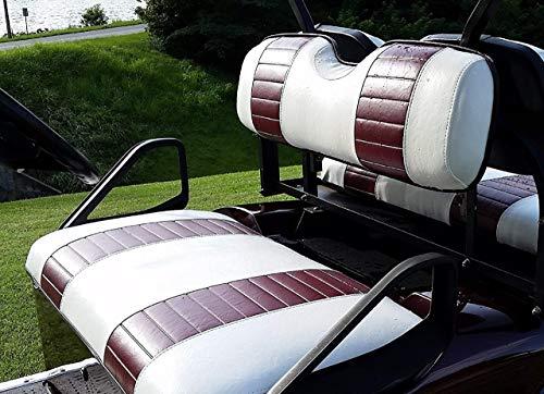 E-Z-Go TXT Custom Golf Cart Front Seat Cover Set PLUS Rear Seat Cover Set Combo - TWO STRIPE STAPLE ON