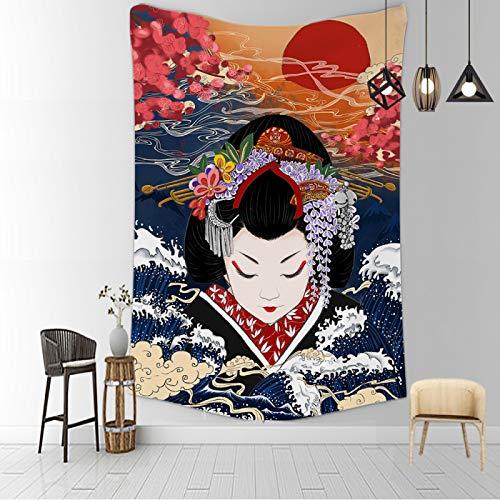 CNYG Manta psicodélica Kanagawa Wave Print Suspensión Manta Colgante de Pared Cama Bohemia Colgante de Pared Decoración del hogar Tapiz de Dormitorio ragazzaa 150x100CM