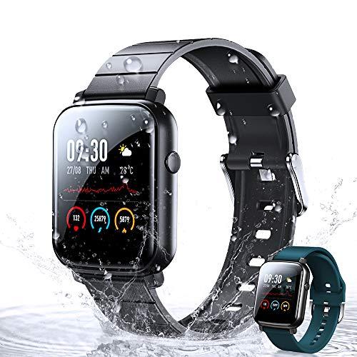 Smartwatch,WOEOA Orologio Fitness Tracker Impermeabil IP68 Cardiofrequenzimetro Sonno salute delle donne Contapassi Cronometro Notifiche Messaggi Controller Musicale Regalo per regalo di Natale (nero)