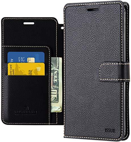 LG Q7 Hülle, LG Q7 Plus Wallet Hülle, Qoosan Leder Flip Kickstand Handyhülle mit Kartenhalter
