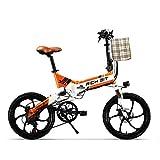 RICH BIT Bicicleta eléctrica TOP-730 48V 250W 8Ah 20 Pulgadas Bicicleta eléctrica Plegable Freno de Disco Doble (Naranja Blanco)