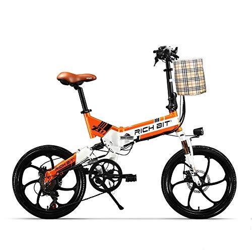 RICH BIT TOP-730 Bicicletta elettrica 48V 250W 8Ah Freno a doppio disco pieghevole per bicicletta elettrica da 20 pollici (Arancio bianco)