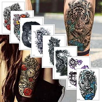 8 Sheets Temporary Tattoo Sticker for Women Men Tiger Wolf Lion War Design Fake Tattoo