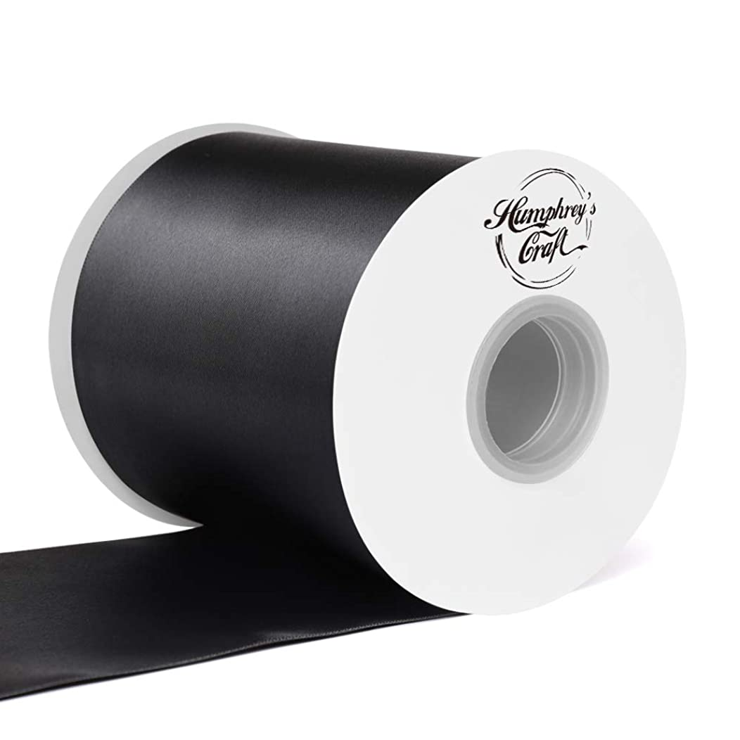 Humphrey's Craft 4 inch Double Face Solid Satin Ribbon 100% Polyester Ribbon Roll -25 Yard (Black)