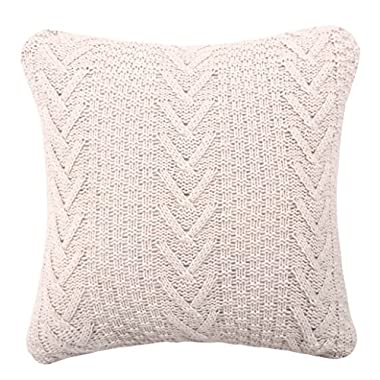 Famibay Knitted Pilllow Covers, Decorative Cotton Knitted Pillow Case Cushion Cover Double-Cable Knitting Patterns Soft Warm Throw Pillow Covers 18  x 18 (Cover Only, Beige)