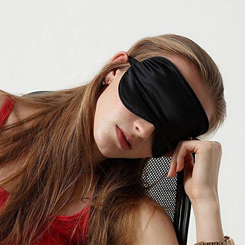 logei - Maschera per dormire in seta regolabile, occhiali da notte, unisex, per viaggi, casa, nero