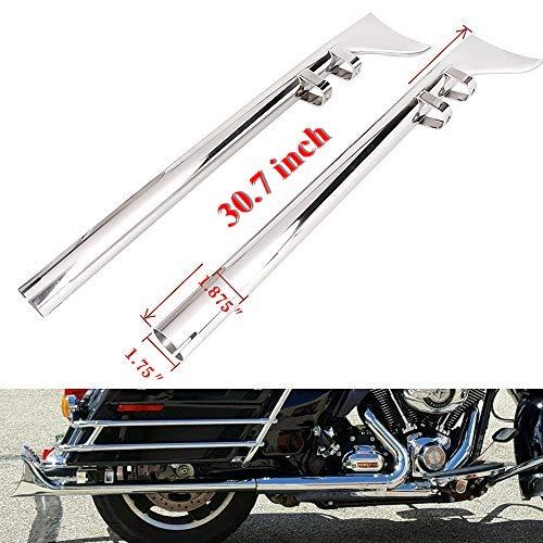 "Three T 33 Inch Chrome 1-7/8"" Mufflers Exhaust Fishtail Drag Pipe Slip On for Harley Davidson Touring Model 1995-2016"