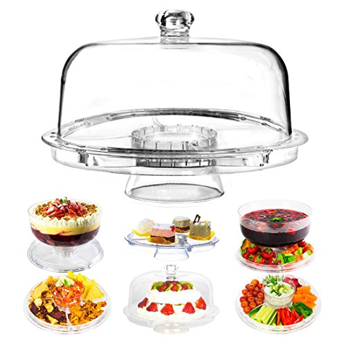 Dome Cake Stand | 6 in 1 Multifunctional 12 Inch Serving Platter with Crystal Clear Acrylic Display for Dessert Tray Fruit Cookie Sweets Muffin Salad Server Punch Bowl for Weddings and Parties | 1273
