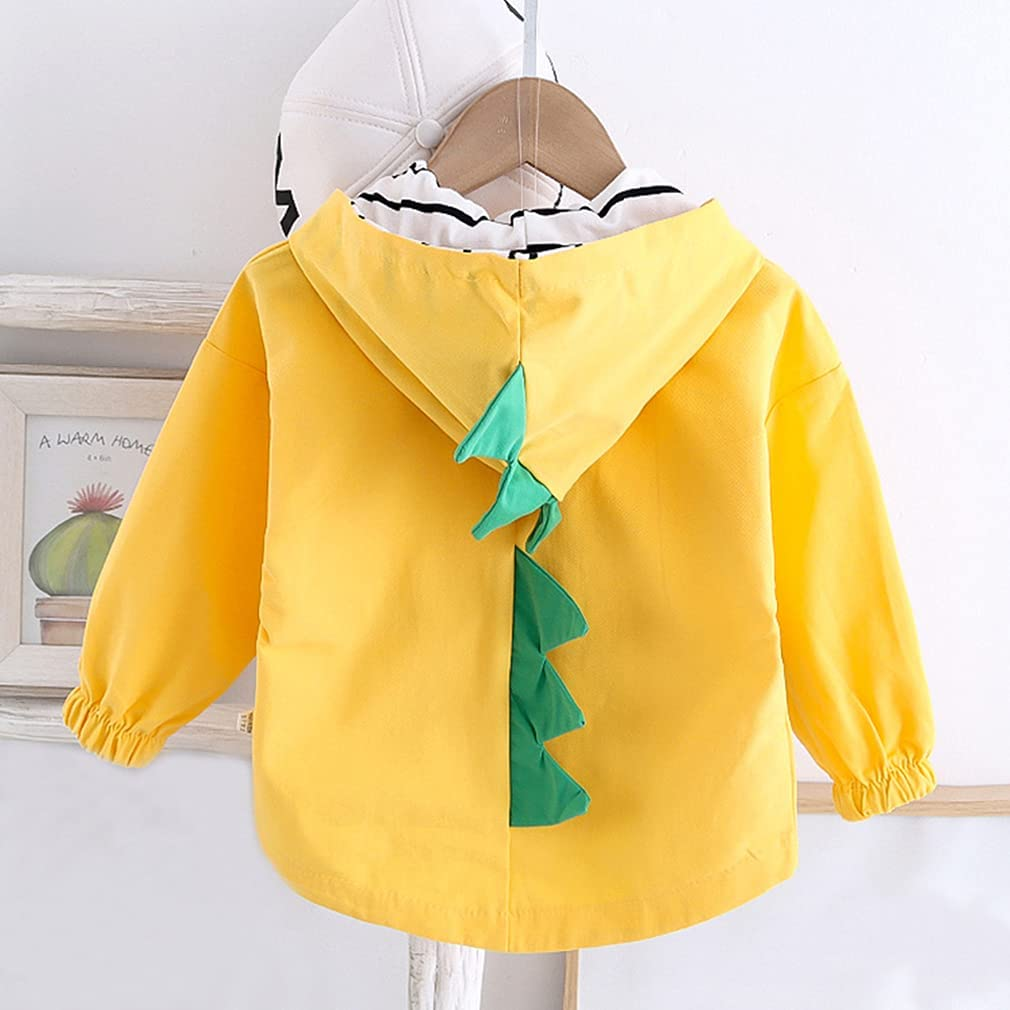 Toddler Baby Boys Girls Dinosaur Hooded Jacket Kids Button Down Casual Jacket Top Coat Outerwear Spring Fall 1-5Years