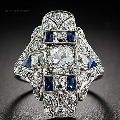 JIUXIAO Anillo de Diamante de Laboratorio Punk de Plata 925 Vintage para Mujeres y Hombres,Accesorios de joyeríagóticageométrica de Piedras Preciosas Azules de Zafiro