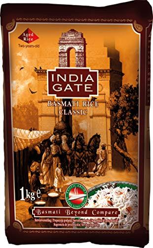 INDIA GATE Classic Basmati Rice (aus Indien, feines Langkorn) aromatisch, Vorratspackung - 1er Pack (1 x 1 kg)
