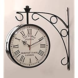 ACCENTS & DECOR Black Iron 8 Inch Victoria Station Clock London Vintage Wall Clock Retro Wall Clock Double Sided Wall Clock Antique Clock (8 inch, 3)