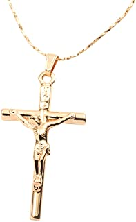 FC Jory White & Rose Yellow Gold Plated Cross Jesus Christ Crucifix Cross Pendant Chain Necklace