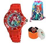 Princess Little Mermaid Gift Set. Wrist Watch & Drawstring Bag for Girls