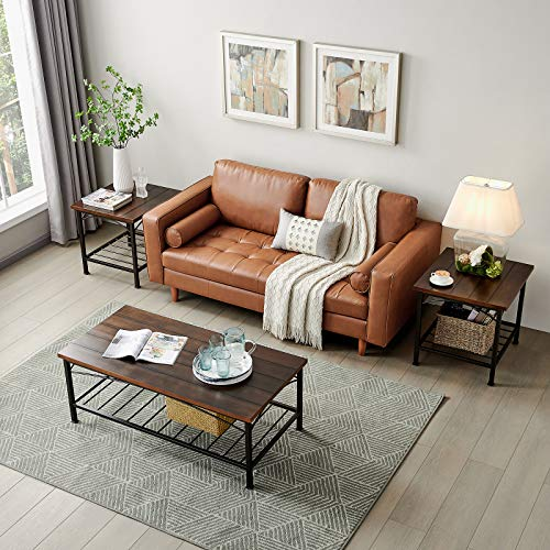Henf 3-Piece Table Sets for Living Room, Includes 1 Coffee Table and 2 End Tables, Occasional Cocktail Table Set with Wood Panels and Metal Frame, Easy Assembly