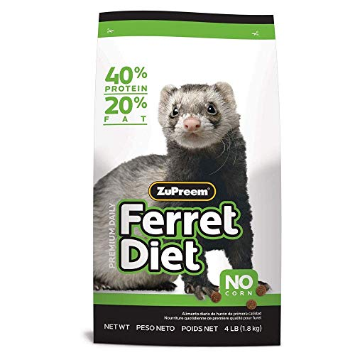 ZuPreem Premium Daily Ferret Diet Food, 4 lb or 8 lb Bag | Nutrient Dense, Real Chicken and Egg Protein Levels, Highly Digestible (4 lb Bag)