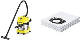 K?rcher WD4 Premium - Aspirador en seco y h?medo, 1000 W, 20 l + K?rcher Bolsas de filtro WD4-WD5-WD6