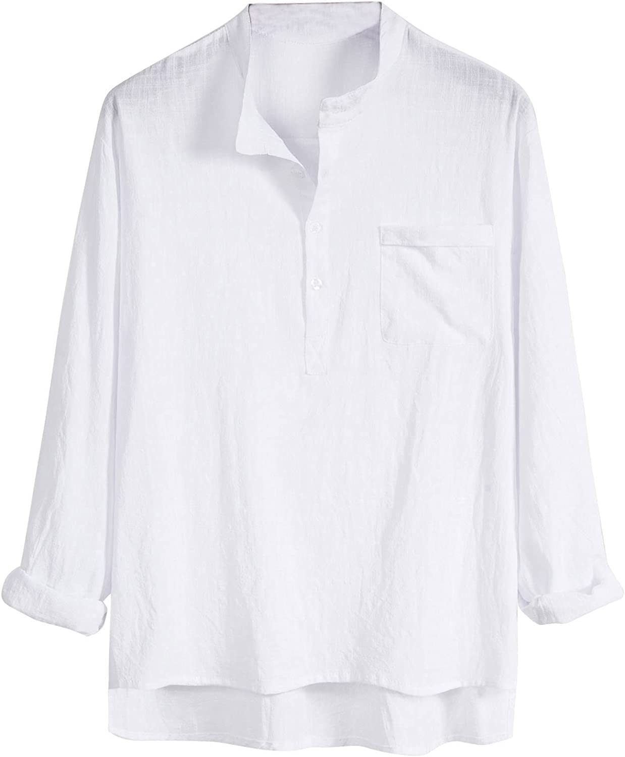 Men's Casual Slim Fit Shirt Solid Color Linen Long Sleeve Button Down Shirt Blouse With Pocket